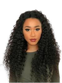 """Black Curly 24"""" Without Bangs Remy Human Hair 360 Lace Wigs"""