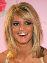 Jessica Simpson Sweet Cute Mid-length Straight Lace Wig with Bangs about 14 Inches