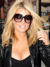 Jessica Simpson Cool Long Wavy Glueless Lace Front Human Hair Wig about 16 Inches