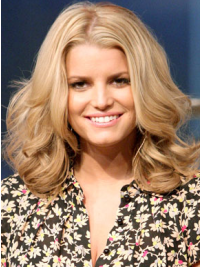 Jessica Simpson Bouncy and Smart Mid-length Wavy Lace Human Hair Wig about 14 Inches