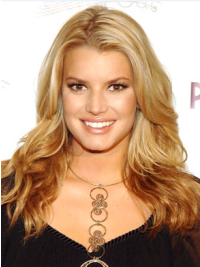 Jessica Simpson Classically Beautiful 100% Human Remy Hair Long Layered Wavy Lace Front Wig about 18 Inches