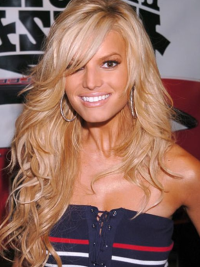 Jessica Simpson American west 100% human remy hair long layered wavy lace wig about 26 inches