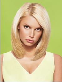 Jessica Simpson Delicate Contemporary 100% Human Remy Hair Short Layered Straight Glueless Lace Front Bob Wig about 12 Inches