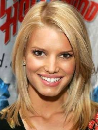 Jessica Simpson Highly New 100% Remy Human Hair Mid-length Layered Straight Lace Bob Wig about 14 Inches