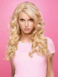 Lusciously pretty long tousled wavy lace human hair wig about 20 inches