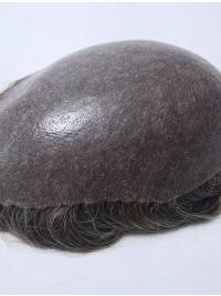 100% Human Hair With Gray Hair Full Poly Man Toupees
