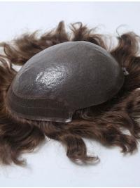 PU Base With French Lace In Front Hairline Man Toupees