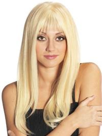 Blonde Straight Remy Human Hair Refined Long Wigs