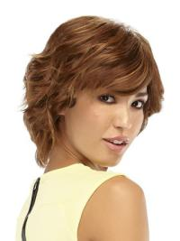 Glamorous Monofilament Wavy Chin Length Human Hair Wigs For Cancer