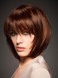 Designed Auburn Straight Chin Length Human Hair Wigs