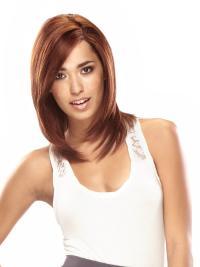 Discount Auburn Lace Front Shoulder Length Remy Human Lace Wigs