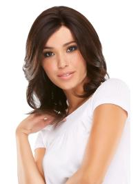 Elegant Auburn Wavy Shoulder Length Wigs