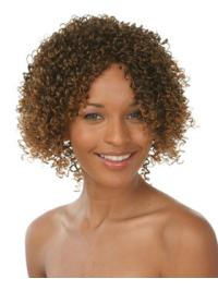 Beautiful Brown Curly Chin Length African American Wigs