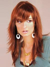 Auburn Layered Straight Braw Long Wigs