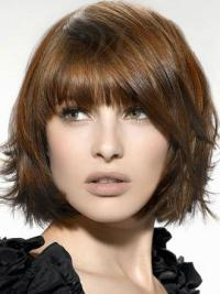 Brown Cool Straight Synthetic Medium Wigs