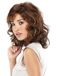 Mature Brown Wavy Shoulder Length Lace Wigs