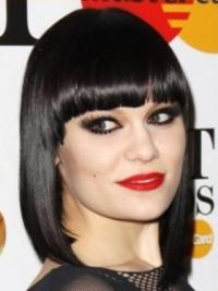 Exquisite Black Straight Shoulder Length Jessie J Wigs