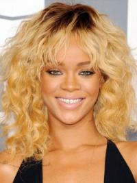 Discount Blonde Curly Shoulder Length Celebrity Wigs