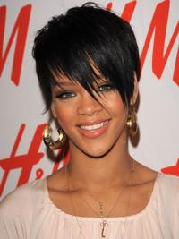 Cheap Black Lace Front Cropped Rihanna Wigs