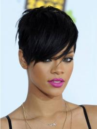 Convenient Black Straight Cropped Rihanna Wigs