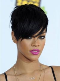 Convenient Black Straight Cropped Rihanna Wigs