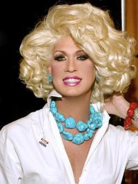 Comfortable Blonde Curly Chin Length Kim Zolciak Wigs