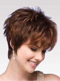 Affordable Auburn Boycuts Wavy Short Wigs