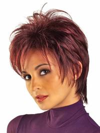 Red Amazing Boycuts Straight Short Wigs