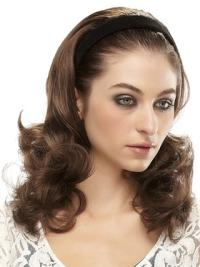 Fabulous Brown Wavy Long Human Hair Wigs & Half Wigs