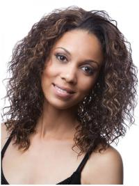 Brown Curly Synthetic Perfect Medium Wigs