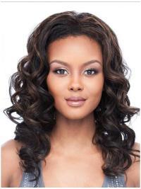 Fashionable Brown Wavy Shoulder Length Human Hair Wigs & Half Wigs