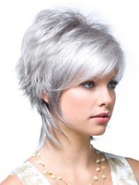 Traditiona Wavy Short Synthetic Grey Wigs ab9126eb7853