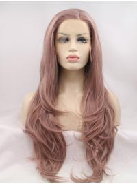 "Long Pink Layered 26"" Lace Front Wavy Synthetic Wigs"
