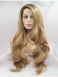 "Long Blonde Layered 27"" Lace Front Wavy Synthetic Wigs"