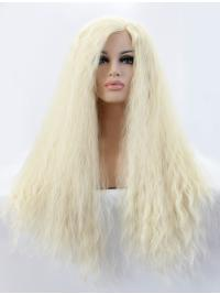 "Long Blonde With Bangs 21"" Lace Front Curly Synthetic Wigs"
