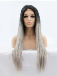 """Long Ombre/2 Tone Without Bangs 28"""" Lace Front Straight Synthetic Wigs"""