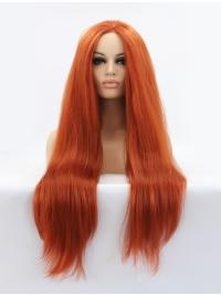 """Long Auburn Without Bangs 32"""" Lace Front Straight Synthetic Wigs"""