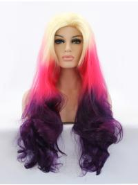 "Long Ombre/2 Tone Without Bangs 30"" Lace Front Wavy Synthetic Wigs"