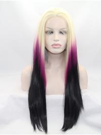 "26"" Straight Ombre/2 Tone Without Bangs Synthetic Lace Front Long Wigs"