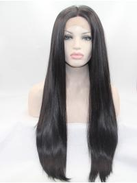 "27"" Straight Black Layered Synthetic Lace Front Long Wigs"