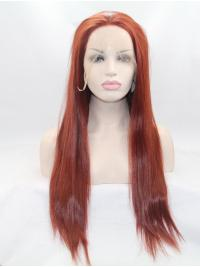 """26"""" Straight Red Without Bangs Synthetic Lace Front Long Wigs"""