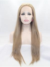 """28"""" Straight Brown Layered Synthetic Lace Front Long Wigs"""