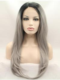 """19"""" Straight Grey Layered Synthetic Lace Front Long Wigs"""