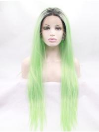"Without Bangs Ombre/2 Tone 31"" Straight Long Lace Front Synthetic Wigs"