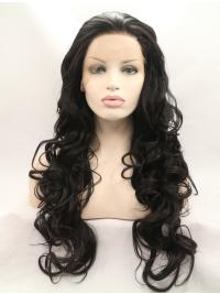 """Without Bangs Black 28"""" Curly Long Lace Front Synthetic Wigs"""