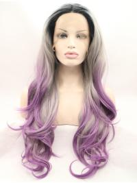 "Layered Ombre/2 Tone 28"" Curly Long Lace Front Synthetic Wigs"