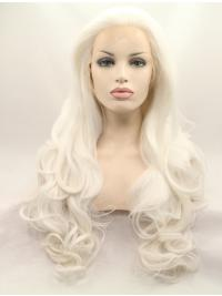 """Without Bangs White 27"""" Curly Long Lace Front Synthetic Wigs"""