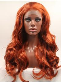 """Without Bangs Orange 20"""" Curly Long Lace Front Synthetic Wigs"""