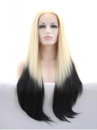 "Without Bangs Ombre/2 Tone 30"" Straight Long Lace Front Synthetic Wigs"