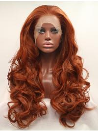 """Without Bangs Orange 27"""" Curly Long Lace Front Synthetic Wigs"""